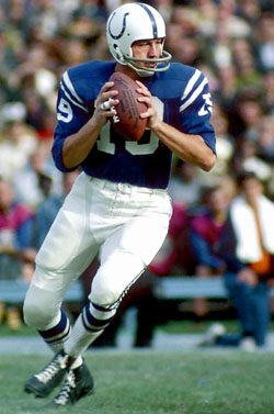 Johnny Unitas Baltimore Colts Baltimore, MD unknown date.