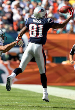 En 2007, Moss signe son chef d'œuvre à New England en captant 23 touchdowns, un record.