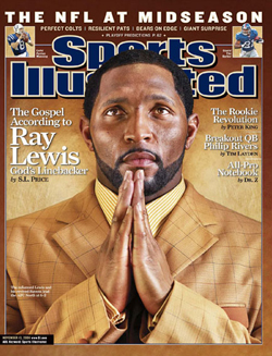 """En quelques années de victoires et d'émotion, Lewis s'est refait une image, au point d'être surnommé """"Le linebacker de dieu"""" par Sports Illustrated."""