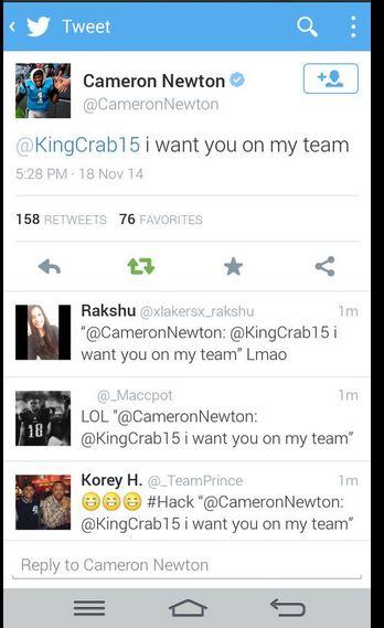 Cam Newton twitter hack 2