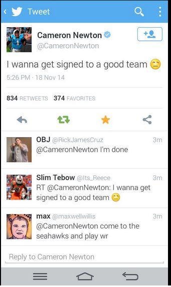 Cam Newton twitter hack 3