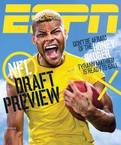 ESPN croyait tellement en Mathieu que le network lui offrira la couverture de son numéro spécial Draft 2013