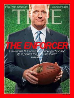 La UNE du Time Magazine de 2012, où le magazine se demandait, sérieusement, si Goodell pouvait sauver le football....