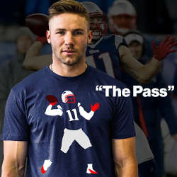 "Le T-shirt ""The Pass"", Julian Edelman n'a pas hésité à capitaliser sur son exploit face aux Ravens"